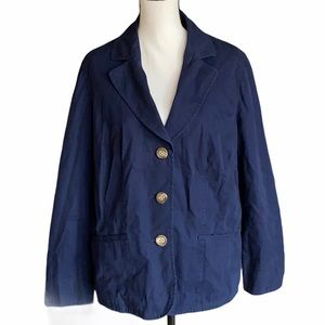 Women's LL Bean Navy Blazer Jacket Size 18W